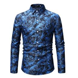 blu bluse di fiori Sconti Camicia floreale hawaiana Camicetta floreale Uomo manica lunga Tempo libero Camicie da uomo Fiore pianta Slim Bianco Rosso Blu Camisa masculina