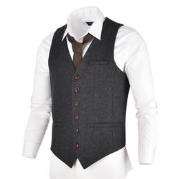 Casaco mens tweed on-line-VOBOOM Cinza Preto Tweed Mens Vest Terno Slim Fit Mistura De Lã Único Breasted Herringbone Colete Homens Cintura Casaco para o Homem 007 # 545679