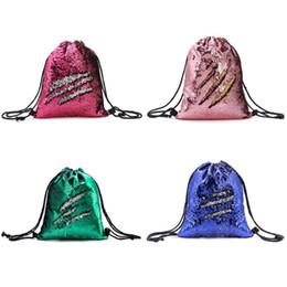 Wholesale Besegad Moda Brilhante Reversível Flip Lantejoulas Mochilas Com Cordão Sacos de Ombro Bolsa de Armazenamento para Meninas Crianças Mulheres Presentes