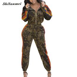 camouflage outfits frauen Rabatt Camouflage Zweiteiler Trainingsanzug Frauen 2019 Langarm Sweatshirt Hoodies + Gestreifte Hose Patchwork Lässige Sweat Outfit