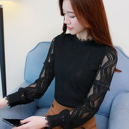 feminine clothing for women Promo Codes - Plus Size Blouses For Women Fashion Blouse Shirt Green Long Sleeve Lace Womens Clothing Hollow Out Feminine Tops Blusas C896 30