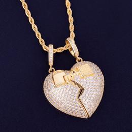 Collane rocciose online-Coppia chiave Ciondolo cuore Ciondolo Collana 3mm corda Catena Oro Argento Cubic Zirconia Uomo Hip Hop Rock Gioielli 5x3.5cm