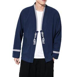 2019 Hombres Chaqueta de Lino de Algodón Estilo Chinse Abrigo Kongfu Masculino Kimono Flojo Cardigan streetwear Abrigo Abrigo de punto abierto Para Hombre 5XL desde fabricantes