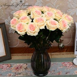 Rosen gärten online-Western Romance Style Künstliche Falsche Rose Seidenblumen Künstliche Weiße Rosen Startseite Hochzeit Garten Silk Rose Decor