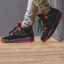 Venta al por mayor 4s Zapatillas de baloncesto para hombre NRG Raptors Negro Púrpura Nuevo diseñador Streets Look Portable Sport Sneaker Con Shoebox