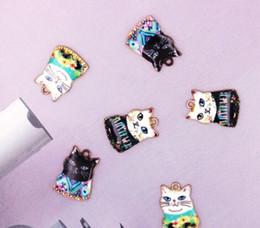 encantos vintage de âncoras de bronze Desconto 60 pcs dos desenhos animados gatos bonitos colar chaveiro brincos de metal charme pingentes jóias fazendo