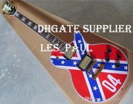 guitarras zakk wylde Desconto Guitarra Custom Shop Zakk Wylde REBEL FLAG elétrica preta velocidade Pegas Ouro Hardware Drop Shipping