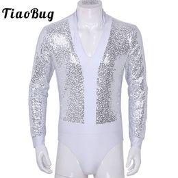 glänzende bodysuit männer Rabatt TiaoBug Shiny Pailletten mit langen Ärmeln High Cut einteilige kurze Ganzanzug Trikot Männer Shirt Body Festival Rave Stage Dance Kostüm