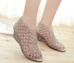 glitter netting Promo Codes - Summer new women's high-heeled fish mouth sandals Crystal glitter transparent jelly bird's nest hollow net shoes hole shoes