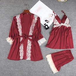 estate di seta casalinga Sconti 3pcs pigiama di seta del pigiama del raso delle donne di modo stabilito gli indumenti da notte dell'abito da notte di Homewear degli indumenti da notte di Sleepwear