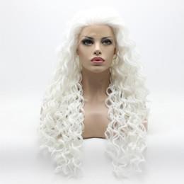mezze parrucche ricci Sconti Hot Sexy Natural Hairline Afro Kinky ricci lunga luce bianca parrucca Mezza mano legata termoresistente Halloween sintetico pizzo anteriore parrucche per le donne