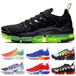 Sapatilhas de arco-íris on-line-2019 Nike Vapormax TN Plus Rainbow Running Shoes Homens Mulheres Uva Tropical Pôr Do Sol Ultra Branco Preto Sapatos de Grife Esporte Tênis 5 - 11
