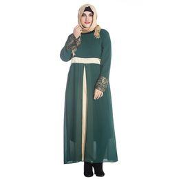 Vestido maxi cinza casual on-line-Vestido Muçulmano turco Mulheres Muçulmanas Vestido de Manga Longa Maxi Abaya Islâmico Casual Robe Kaftan Cinza / Verde / Preto G9415GR-4XL