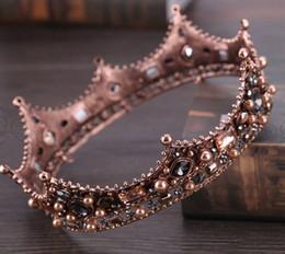Couronne tout autour en Ligne-Européenne rétro palais baroque reine couronne gros verre rond couronne bandeau tour complet cercle couronne cheveux accessoires