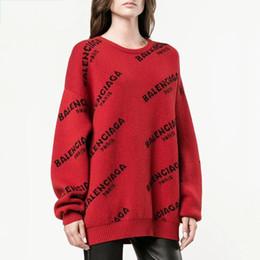 Canada 2018 Automne Hiver Européen Style Femmes Chandails Imprimer Lettres Dames Hauts Épais À Manches Longues Pull Chaud Tricoté Pull Lâche cheap top women winter sweater styles Offre