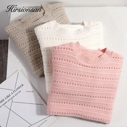 Suéter de invierno de corea online-Hirsionsan Streetwear Sweater Women Elastic 2019 Korean Ladies Winter Knitting Harajuku O-Neck Pullover Jersey de fondo sólido