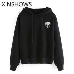 Grau weißer schwarzer hoodie online-2016New arrvials Alien Hoodies Brief Grau Weiß Schwarz Bts Exo Mode stil pullover sweatshirt für frauen Mujer Lager