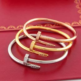 Quelques accessoires en Ligne-Ongle Forme Bracelet pour Couple 18k Or Rose Bracelet avec Diamants Marque De Mode Femmes Bijoux Accessoires
