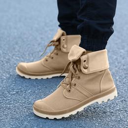 2019 botas de lona MUQGEW High-Top homens boot Não-slip Respirável Lace-Up Canvas sapatos individuais Estudantes Clássicos tamanho grande Caminhadas Sapatos chaussures desconto botas de lona