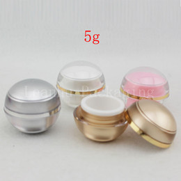 Pots à la crème colorée en Ligne-5g X 50pc Colored Ball Balm Cream Container, Petites bouteilles cosmétiques, Échantillon acrylique sphérique vide, Boîte de crème de soin de la peau