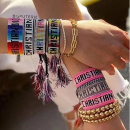 I modelli dei braccialetti dei branelli online-Il nuovo arrivo Letters Amicizia lettere braccialetto Handmade tessuto da Seed Beads Miyuki braccialetto di amicizia regolabile modello Cuore