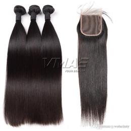 3 Paketler İnsan Saç Atkı 4 * 4 ile Dantel Kapatma Bebek Saç ile Doğal Renk Düz Virgin İnsan VMAE Saç nereden renkli insan saç paketlerinin kapanması tedarikçiler