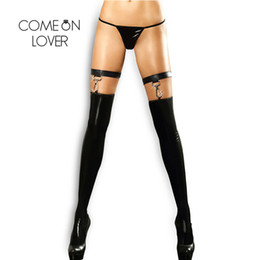 Comeonlover Spandex Fetish Stay Up Medias Faux Leather Sex Clubwear Negro Medias de moda Rodilla Medias altas Re80442 SH190710 desde fabricantes