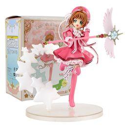 modelo de cartão diy Desconto Cartão bonito do Anime Captor Sakura Limpar Card Sakura Kinomoto com Ação Batalha Magic Wand PVC Figura Collectible Modelo Brinquedos Boneca T190925