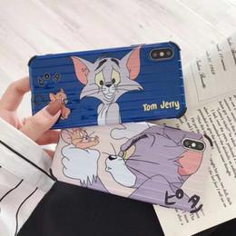 Casos móveis engraçados on-line-iphone x / xs case, moda quadrado bonito dos desenhos animados gato tom jerry rato engraçado capa mole do telefone móvel case para iphone x / xs
