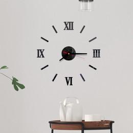 números de adesivo de parede Desconto Números Modern Frameless DIY Wall Clock romanos adesivo 3D superfície do espelho Adesivos decorativos silencioso agulha para a Home School Offic