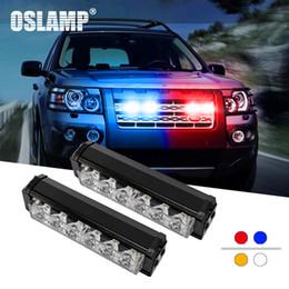 Griglia ambra blu online-2pcs Oslamp / Set 6LED Autogrill Strobe lampade con interruttore Bianco + Giallo / Car Light Blue + Rosso lampeggiante / SUV / Autobus emergenza lampada del segnale