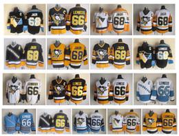 Maglia di lemieux ccm online-Maglia vintage retrò NHL Pittsburgh Penguins 66 Mario Lemieux 68 Jaromir Jagr Maglia blu scuro gialla bianca blu CCM Top Quality!