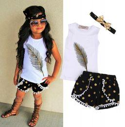 chicas calientes chalecos cortos Rebajas HOT Cute Toddler Kids Girls Ropa Chaleco Tops Pantalones Cortos 3 Unids Trajes Set Edad 2-7T Regalo