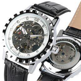 2019 design do relógio aquático Relógio Automático de luxo para Homens Projeto Da Engrenagem Resistente À Água dos homens de Couro Genuíno Relógios De Pulso relogio masculino Novo Relógio 2019 design do relógio aquático barato