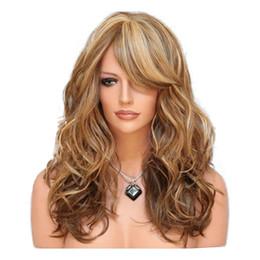 Pelucas largas y rizadas resistentes al calor online-23 pulgadas pelucas sintéticas para las mujeres forman pelucas a prueba de calor del pelo de la onda larga rizada rubia pelucas