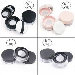 Kosmetische sichter pulver gläser online-New Loose Powder Glas mit Sichter und Puderquaste Kosmetik Kunststoff loser Puder-Kasten Verpackungsbehälter 3g 5g 15g 20g DHL-freien