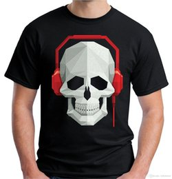 cráneos de auriculares Rebajas Velocitee Mens Skull Headphones Camiseta DJ Rave Festival Music V7