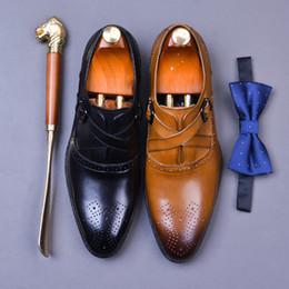 braune formale schuhe verkauf Rabatt Begrenzte Verkauf elegante Männer Kleid Schuhe schwarz braun echte Kuh Leder Cross Band Schnalle Riemen formale Business Schuhe Männer Oxfords