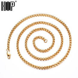 3mm rolo chain Promo Codes - HIP Width 2mm 3mm 4mm Gold Silver Black 316L Stainless Steel Necklace Men Box Rolo Chain Necklaces Jewelry 20-30inch Length