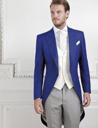 Yeni Sabah Stil Bir Düğme Kraliyet Mavi Düğün Damat Smokin Tepe Yaka Groomsmen Erkekler Balo Blazer Suits (Ceket + Pantolon + Yelek + Kravat) 073 cheap morning suit blue wedding nereden sabah takım elbise mavi düğün tedarikçiler