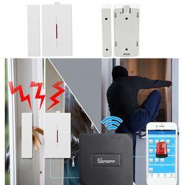 alarmes de janela sem fio Desconto Janela Sem Fio Alarme Sensor de Porta SONOFF 433 Mhz Detector para Home Security Sistema de Alerta de Ladrão de Voz