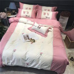 Pedaços rosto de desenho animado on-line-cama frete grátis define 60 bonitos quarto animados do estilo de Crianças dupla face Tencel quatro peças de dormir nua pele-friendly de 1,2 metros