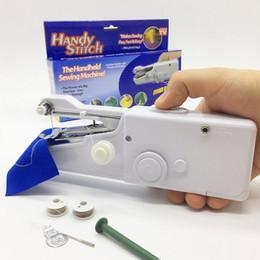 Deutschland Elektrische Handnähmaschine Mini Portable Home Sewing Handliche Stich Tabelle Hand Single Stitch Handmade DIY Tools 10 Stücke DHL Versorgung