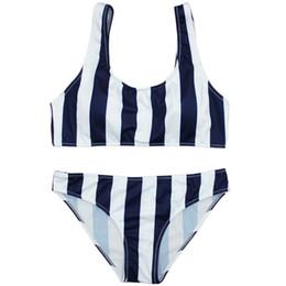 20dd6b6cc7e1c 2PCS White + Dark Blue Strip Swimwear Lady Women Split Swimsuit Vest Type  Beach Swimsuit Printing Bathing Suit