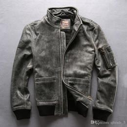 2020 primeras chaquetas de cuero genuino vendimia gris deportivas chaquetas de cuero genuino collar del soporte de la primera capa de cuero chaquetas de la motocicleta retro rebajas primeras chaquetas de cuero genuino