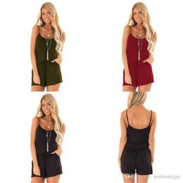 75edbd9e129 2019 Mode Femmes Vêtements Combinaison Short Doux spaghetti Sangle Dos Nu  Poches Taille Unicolore Couleur Noir Vin Rouge Armée Vert Free DHL