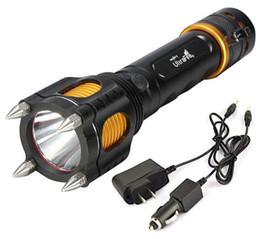 2019 ladegeräte schneiden Großhandels-freies Epacket Lumen Cree XML XM-L T6 führte Taschenlampen-Fackellicht taktische Lampen mit Ausschnittmesser Warnung + Auto-Aufladeeinheit + Wechselstrom-Aufladeeinheit rabatt ladegeräte schneiden