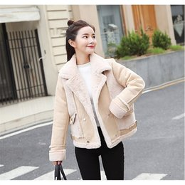 3667801ac Mulheres Manga Comprida Outwear Curto Casual Fur Turn-Down Collar Patchwork Casaco  Outono Inverno Double Breasted Casacos Quentes