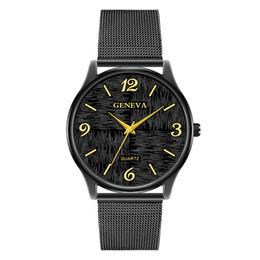 relógios genebra black metal Desconto Moda mens genebra liga de negócios de metal preto simples malha relógios atacado novo masculino relógios de pulso ocasional de lazer para homens masculino