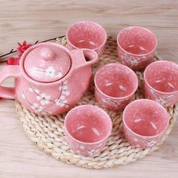Pintura de doces on-line-7pcs doce floral mão pintado conjunto de bule de cerâmica